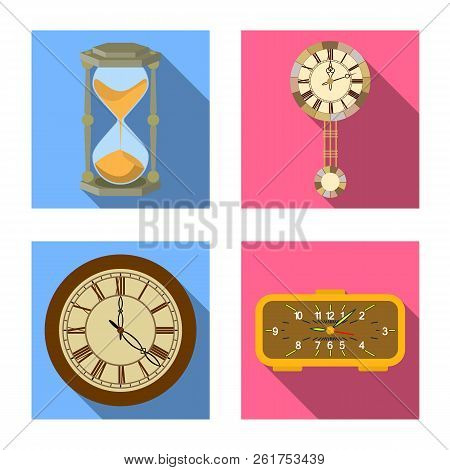 Vector Illustration Of Clock And Time Icon. Set Of Clock And Circle Stock Vector Illustration.