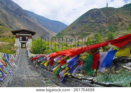Iron Chain Bridge Located Near Tachog Lhakhang Dzong Temple. Paro, Bhutan