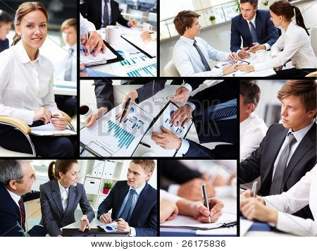 Business people discussing results of work
