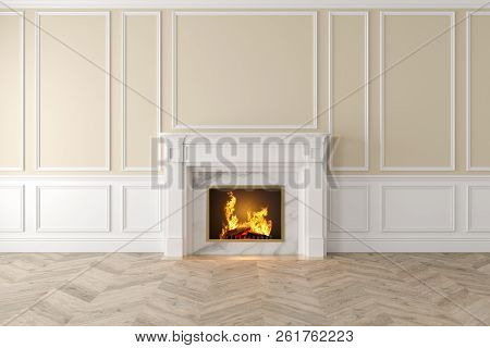 Modern Classic Beige Interior With Fireplace, Wall Panels, Wooden Floor. 3d Render Illustration Mock