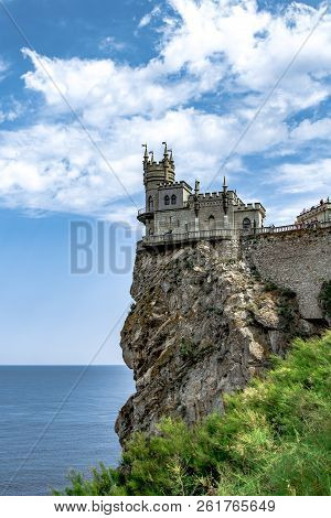 Scenic Panoramic View Of Crimea Southern Coast. Amazing Castle Swallow's Nest On A Cliff At The Blac