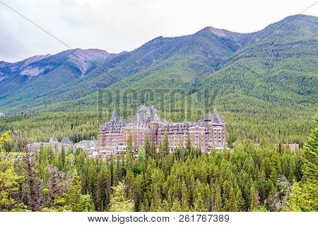 Banff,canada - July 1,2018 - View Of The Banff Springs Hotel Building In Canadians Rocky Mountains.