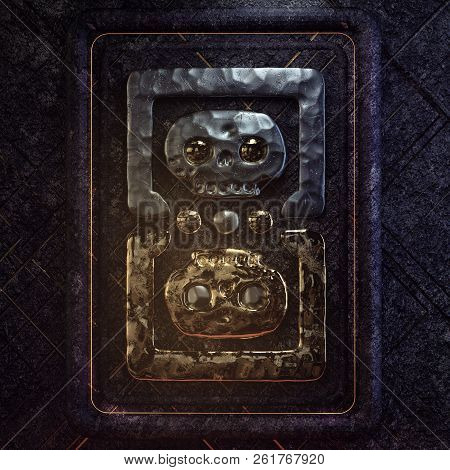 Old Aztec Mexican Symbol Made Of Two Gold And Forged Metal Skulls On Stone Background With Glowing R