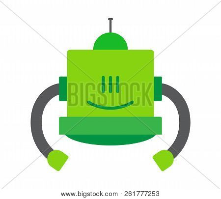 Robotic Intellect, Robot That Has Friendly Face And Green Color Of Body, Creature With Long Hands, V