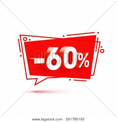 Banner 60 Off With Share Discount Percentage. Vector Illustration