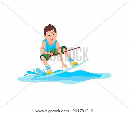 Kitesurfing Sport And Sure Boy Holding Hoop And Standing On Board, Male Activity Vector Illustration