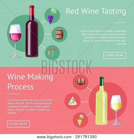 Red Wine Tasting And Making Process Promo Banners. Bottles With Red And White Vino On Internet Pages