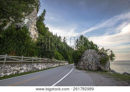 Mackinac Island Coastal Highway. M 185 On Mackinaw Island Is The Only Highway In The Us Where Vehicl