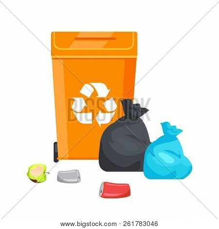 Container With Recycle Sign, Conservation Of Nature, Ecology And Bags Full Of Waste, Aluminum Bottle