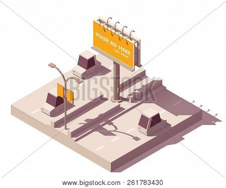 Vector isometric low poly outdoor advertising media types and placement locations illustration representing billboard advertisement and street lamp post advert banner on the road poster