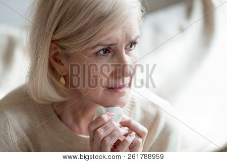 Sad Frustrated Middle Aged Woman In Tears Thinking Of Loneliness