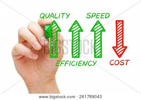 Hand Drawing Increased Quality, Efficiency And Speed But Decreased Cost Arrows Concept With Marker O