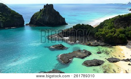 Aerial View Of The Wonderful Beach Of Bahia Do Porcos, One Of The Most Beautiful Beaches In Fernando
