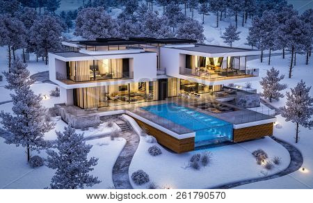 3D Rendering Of Modern House By The River In Winter Night