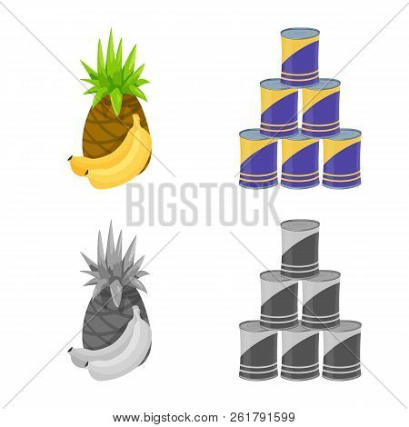 Vector Design Of Food And Drink Logo. Collection Of Food And Store Stock Vector Illustration.