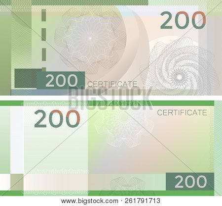 Voucher Template Banknote 200 With Guilloche Pattern Watermarks And Border. Green Background Banknot