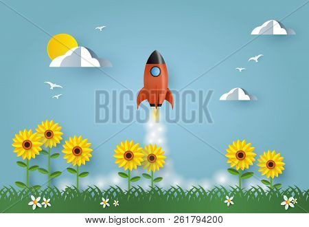 Concept Of Business Start-up, Boost Or Success. Rocket Launch Up Above Sunflower Field