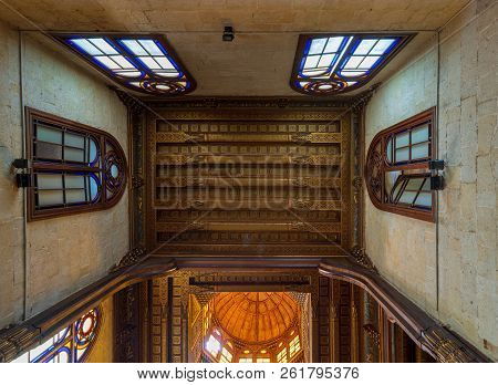Cairo, Egypt - July 28 2018: Decorated Ceiling With Floral Pattern Decorations At Sultan Al Ghuri Ma