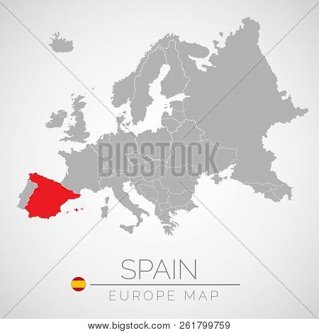 Map Of European Union With The Identication Of Spain. Map Of Spain. Political Map Of Europe In Gray