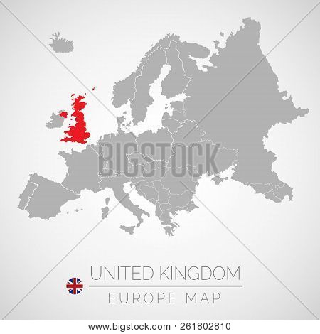 Map Of European Union With The Identication Of United Kingdom. Map Of United Kingdom. Political Map