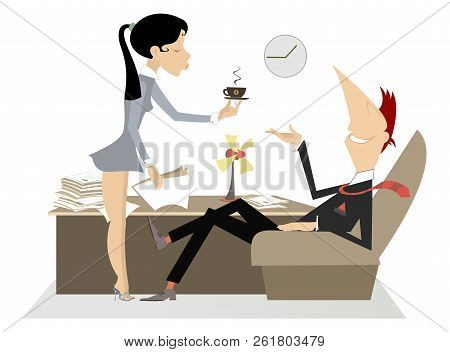 Secretary Woman, Coffee And Boss Illustration. Sexy Woman Giving A Cup Of Coffee Or Tea To The Sitti