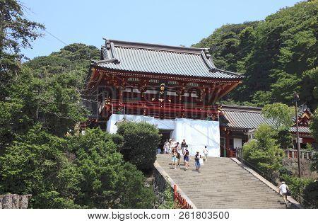 Kamakura, Japan - August 5, 2015: Historic Temple And Garden On August 5, 2015 In Kamakura, Japan. K