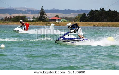 Two jet skis racing