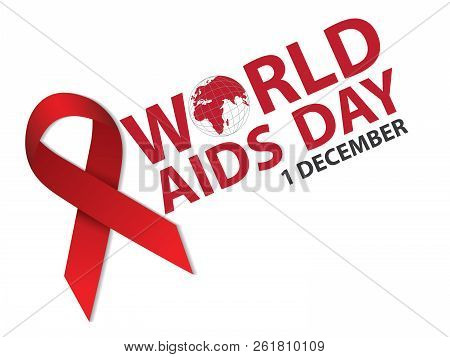 World Aids Day. 1st December. Aids Awareness Red Ribbon Concept. Hiv Wareness.