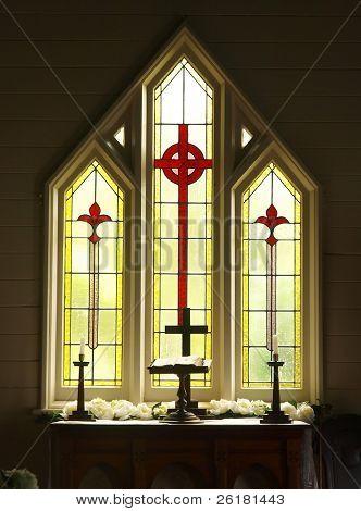 Decorative Glass windows in a church prepared for a wedding