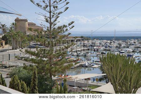 Pila De La Horadada Spain - 05 Oct 2018 : Marina And Torre View