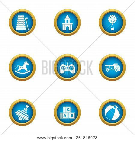 Babyhood Play Icons Set. Flat Set Of 9 Babyhood Play Vector Icons For Web Isolated On White Backgrou