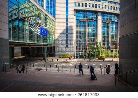 Brussels, Belgium - August 01, 2018: European Parliament Exterior. Eu Parliament In Brussels, Belgiu