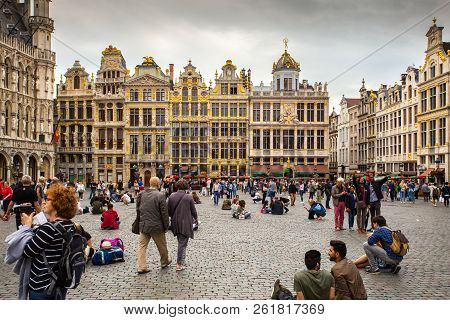 Brussels, Belgium - August 01, 2018: Brussels Old Town. Grand Place Attractions Of Brussels, Belgium