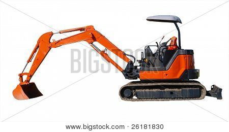 Small digger isolated with clipping path  High visibility jacket draped over the seat