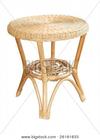 Small cane table isolated with clipping path