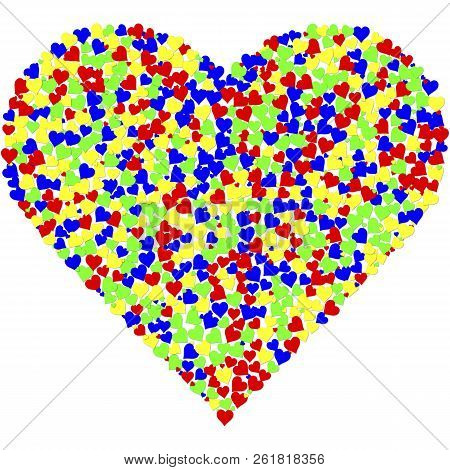 A Collage Of A Heart Made Of Thousands Of Clorful Hearts