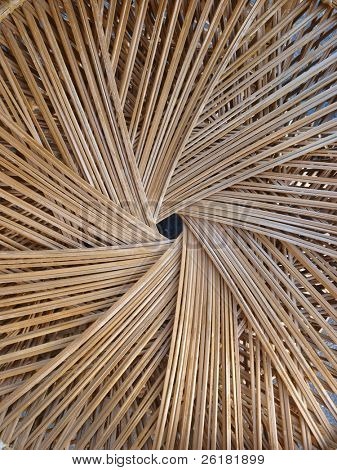 Spiral pattern made from woven cane
