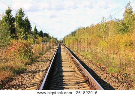 Railroad Train Track Sleepers On Autumn Season Nature. Railway Train Rail Track Perspective View Wit