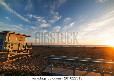 Lifeguard Hut On The Sand In Santa Monica Beach At Sunset, Los Angeles. Southern California, Usa