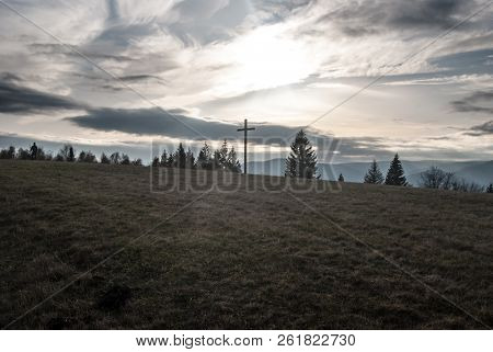 Loucka Hillin Autumn Slezske Beskydy Mountains In Czech  With Meadow, Wooden Cross, Trees And Moravs