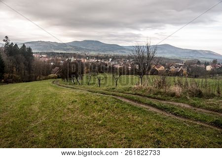 Jablunkov City With Hills Of Moravskoslezske Beskydy Mountains On The Background In Czech Republic D