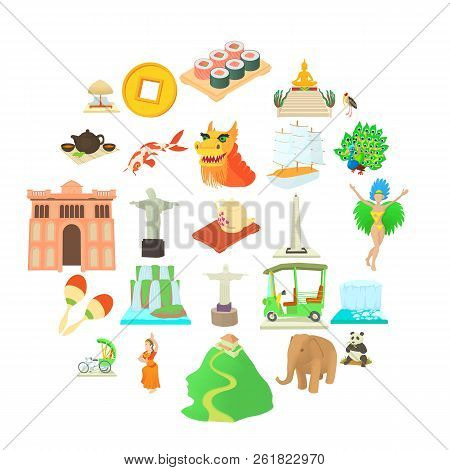 Journey Icons Set. Cartoon Set Of 25 Journey Vector Icons For Web Isolated On White Background