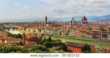 View Of Florence Cathedral, Palazzo Vecchio And Ponte Vecchio - The Famous Landmarks In Florence, It