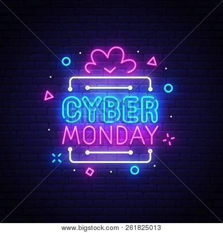 Cyber Monday Neon Sign, Bright Signboard, Light Banner. Discount, Night Sale Logo, Emblem. Vector Il