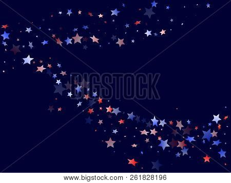 American Presidents Day Stars Background. Holiday Confetti In Us Flag Colors For President Day.  Sty