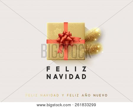 Spanish text Feliz Navidad. Vector illustration letttering Merry Christmas, gift box closed wrapped ribbon with bow. poster