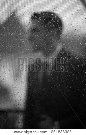 Groom In The Rain Are Covered With A Transparent Umbrella, Rain Drops