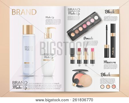 Cosmetics Products, Make Up Accessories Catalog Template With Branded Shampoo, Lotion, Skin Care Cre
