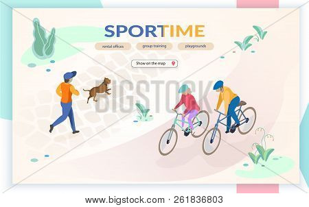 Sport Time Flat Vector Web Banner With People Running, Playing With Dog, Riding Bicycle In City Park