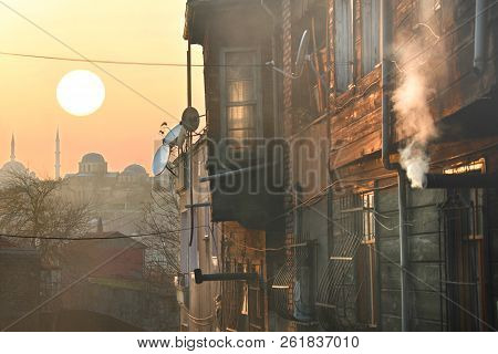 A romantic sunset in Istanbul, the historical metropolis in Bosporus poster